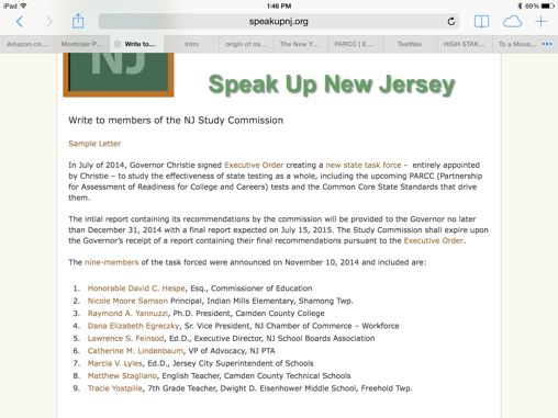 NJ Governor's Task Force: Take the PARCC, I Did